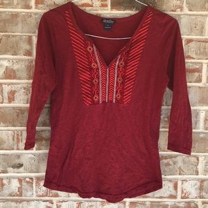 Lucky Brand Burgundy Embroidered Top